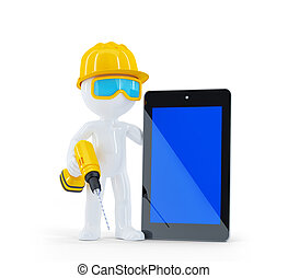 ouvrier construction, tablette, informatique