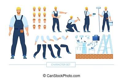 ouvrier construction, vecteur, constructeur, caractère