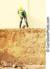 ouvrier, creuser
