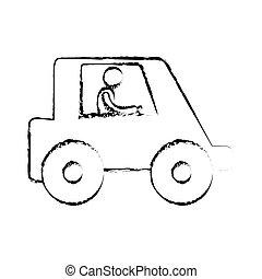ouvrier, croquis, camion, conduire, homme