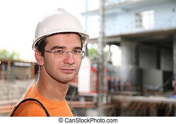 ouvrier, dans, les, casque