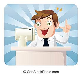 ouvrier, dessin animé, bureau