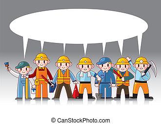 ouvrier, dessin animé, carte