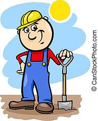 ouvrier, dessin animé, illustration, bêche