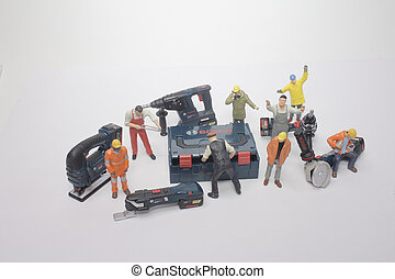 ouvrier, dos, équipe, fournitures, outils, terrestre