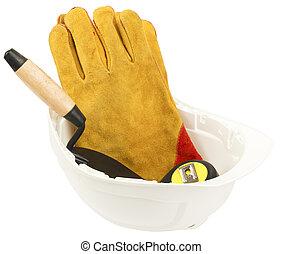ouvrier dur, construction, inclure, fournitures, chapeau