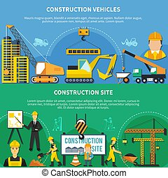 ouvrier, ensemble construction, bannière, deux
