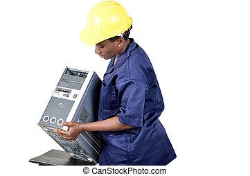 ouvrier entretien, jeune, informatique, femme, portrait