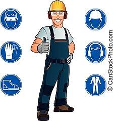 ouvrier, et, signes