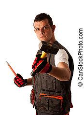 ouvrier, fâché, construction, menaces, hamer