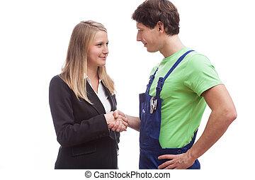 ouvrier, femme, secousse, physique, mains