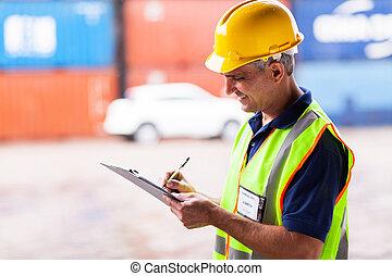 ouvrier, fonctionnement, port, personne agee