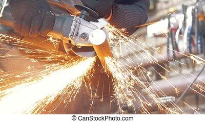 ouvrier, forg, détail, forgeron, confection, scie, ...