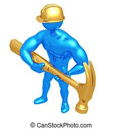 ouvrier, géant, construction, marteau