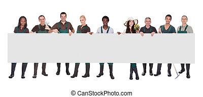 ouvrier, groupe, affiche, jardinier