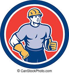 ouvrier, haut, construction, pouces, cercle, retro