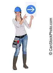 ouvrier, haut, signe, construction, trafic, tenue