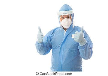 ouvrier healthcare, ou, protecteur, haut, industriel, ...