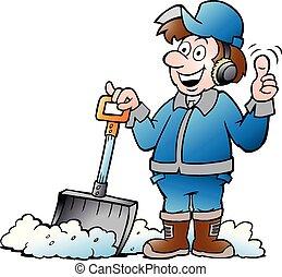 ouvrier, heureux, vecteur, pelle, sien, bricoleur, dessin animé, illustration, neige