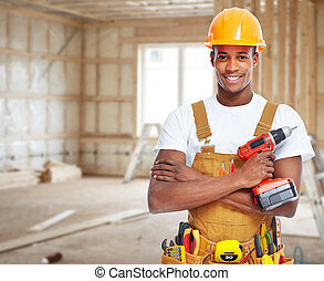 ouvrier, house., nouveau, construction
