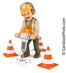 ouvrier, hydraulique, construction, poche, casseur, 3d