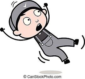 ouvrier, -, illustration, bas, vecteur, retro, tomber, réparateur, dessin animé