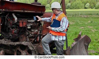 ouvrier, image, diesel, engin, prendre