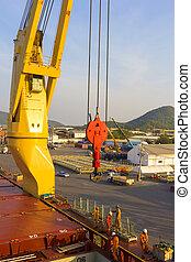 ouvrier industrie, bateau, port