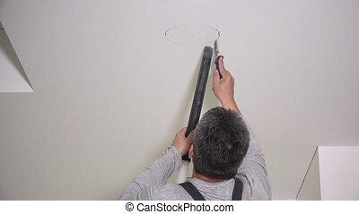ouvrier, installation, gypse, plafond, trous, scier, ...