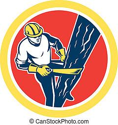 ouvrier ligne, puissance, harnais, escalade, cercle, ...