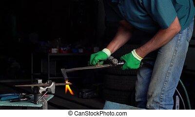 ouvrier, métal, atelier, retro, coupures, petit, coupeur