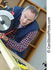 ouvrier, machine, atelier, charpentiers, utilisation, scie