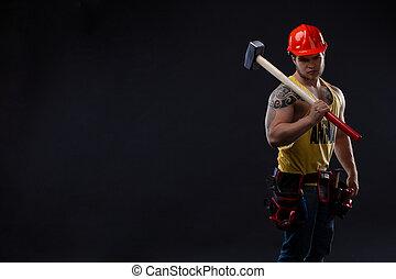 ouvrier, marteau, brutal, musculaire, homme