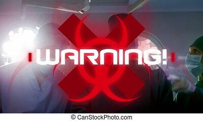 ouvrier, mot, coronavirus, fond, healthcare, avertissement, ...