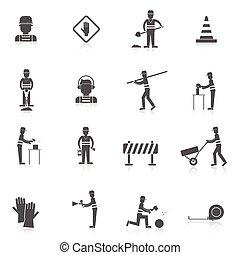 ouvrier, noir, route, icône