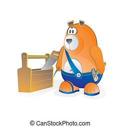 ouvrier, ours, équipement