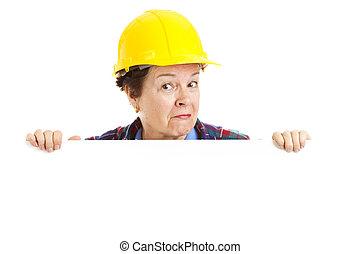 ouvrier, peekaboo, construction, -, femme