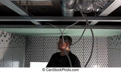ouvrier, plafond, ceiling., facile, gypse, placoplâtre, vis...