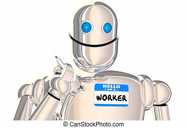 ouvrier robot, automatisé, employé, marque nom,...