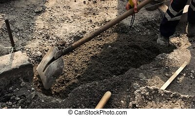 ouvrier route, à, shovel.