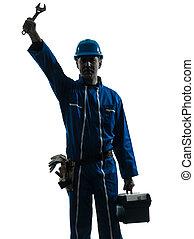 ouvrier, saluer, homme, silhouette, réparation
