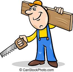 ouvrier, scie, dessin animé, illustration