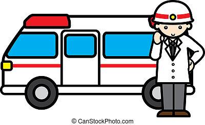 ouvrier, secours, ambulance