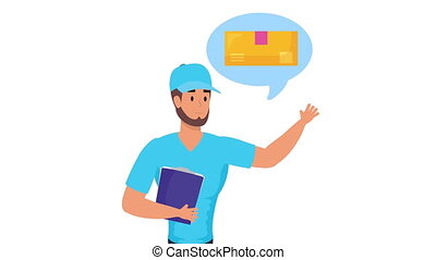 ouvrier, service, levage, bulle, liste contrôle, enveloppe, ...