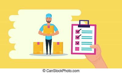 ouvrier, service, levage, liste contrôle, logistique, boîte