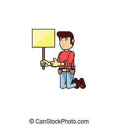 ouvrier, signal, construction, bannière