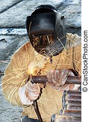 ouvrier, soudure, à, électrique, arc, électrode