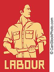 ouvrier, tenue, a, marteau