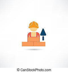 ouvrier, truelle, icône