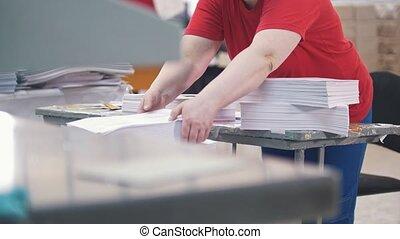 ouvrier, typographie, papier, femme, disassembles, pile